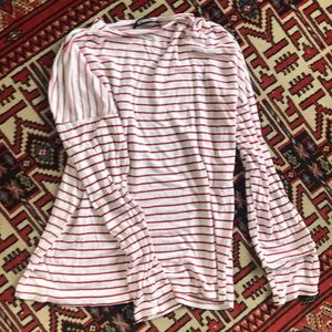 Reformation Red/White Large Long Sleeve Crewneck